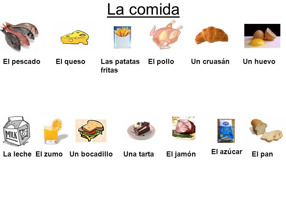 La comida El pescadoEl quesoLas patatas fritas El polloUn cruasánUn huevo La lecheEl zumoUn bocadilloUna tartaEl jamón El azúcar El pan