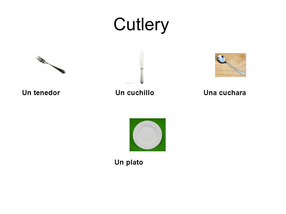 Cutlery Un tenedor Un cuchillo Una cuchara Un plato