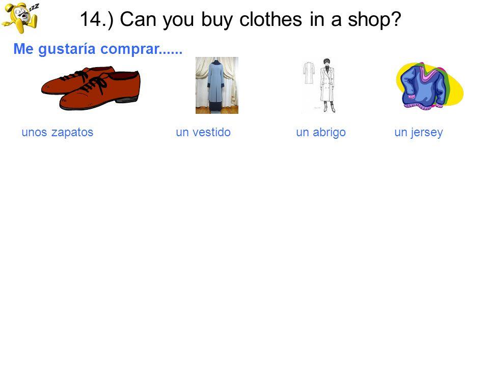 14.) Can you buy clothes in a shop? Me gustaría comprar...... unos zapatos un vestido un abrigo un jersey