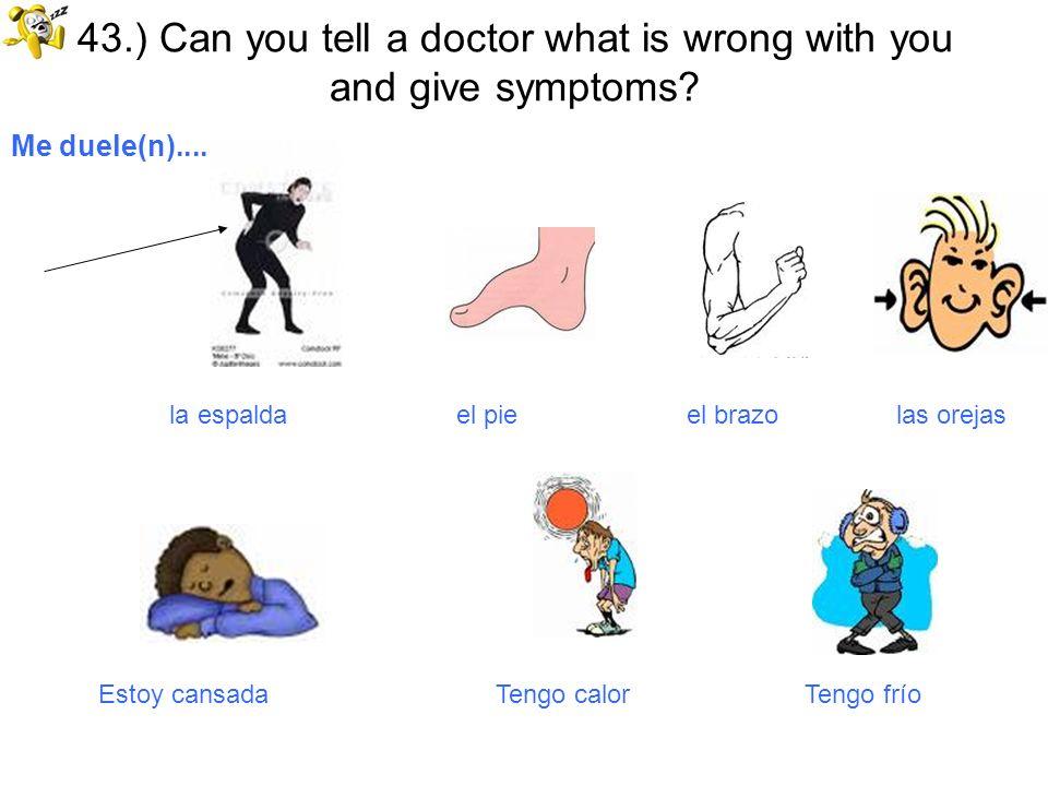 43.) Can you tell a doctor what is wrong with you and give symptoms? Me duele(n).... la espalda el pie el brazo las orejas Estoy cansada Tengo calor T