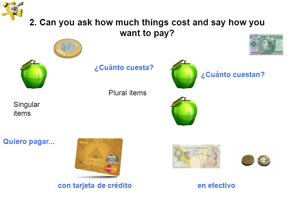 2. Can you ask how much things cost and say how you want to pay? Singular items Plural items ¿Cuánto cuesta? ¿Cuánto cuestan? Quiero pagar... con tarj