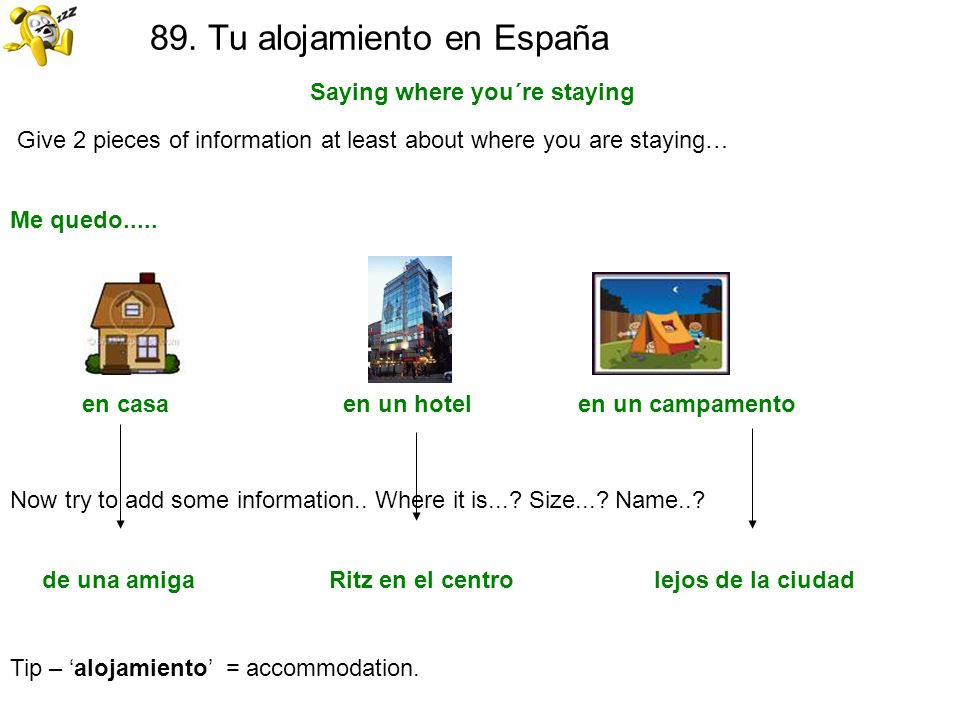 89. Tu alojamiento en España Saying where you´re staying Tip – alojamiento = accommodation. Give 2 pieces of information at least about where you are