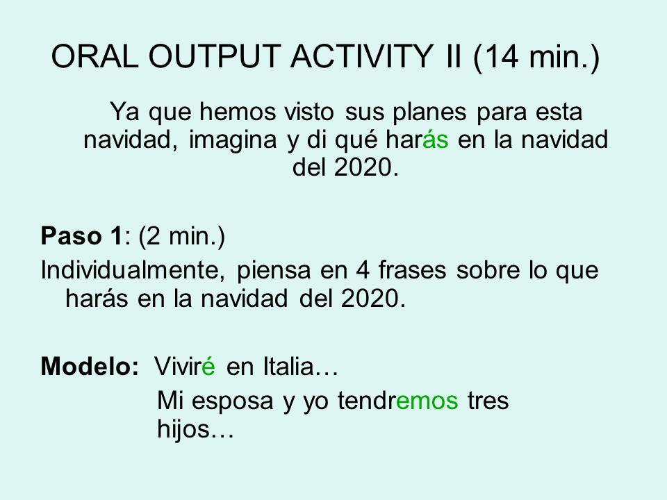 ORAL OUTPUT ACTIVITY II (14 min.) Ya que hemos visto sus planes para esta navidad, imagina y di qué harás en la navidad del 2020. Paso 1: (2 min.) Ind