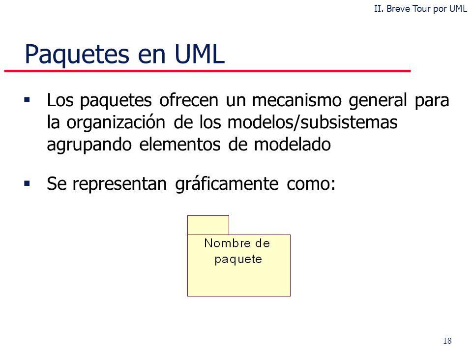 18 Paquetes en UML Los paquetes ofrecen un mecanismo general para la organización de los modelos/subsistemas agrupando elementos de modelado Se representan gráficamente como: II.