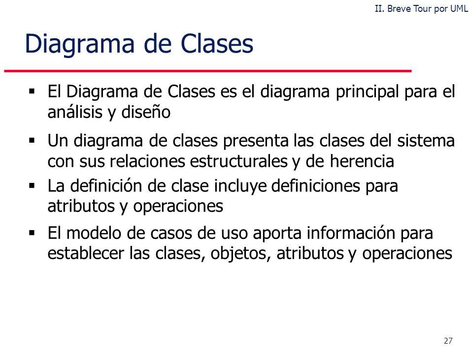 27 Diagrama de Clases El Diagrama de Clases es el diagrama principal para el análisis y diseño Un diagrama de clases presenta las clases del sistema con sus relaciones estructurales y de herencia La definición de clase incluye definiciones para atributos y operaciones El modelo de casos de uso aporta información para establecer las clases, objetos, atributos y operaciones II.