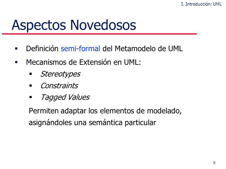8 Aspectos Novedosos Definición semi-formal del Metamodelo de UML Mecanismos de Extensión en UML: Stereotypes Constraints Tagged Values Permiten adaptar los elementos de modelado, asignándoles una semántica particular I.