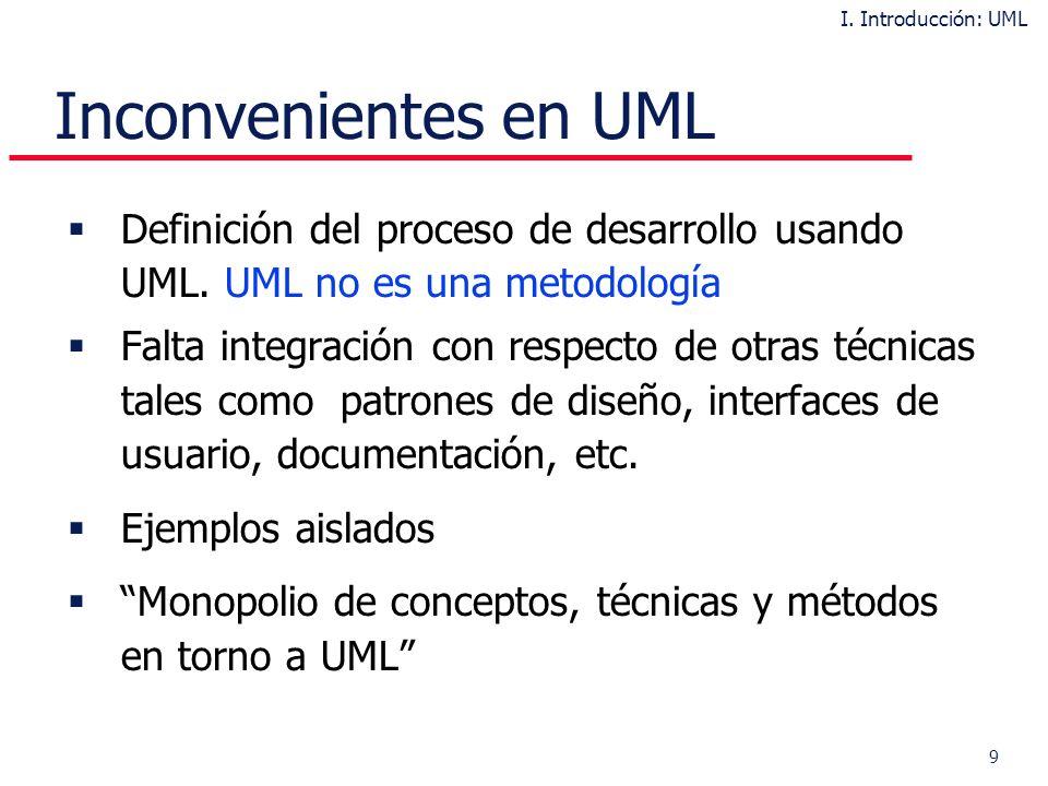 9 Inconvenientes en UML Definición del proceso de desarrollo usando UML.
