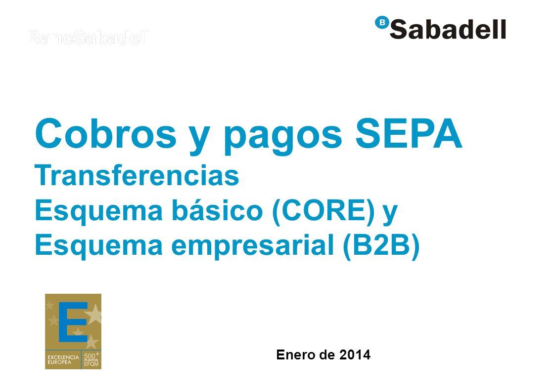 Cobros y pagos SEPA Transferencias Esquema básico (CORE) y Esquema empresarial (B2B) Enero de 2014