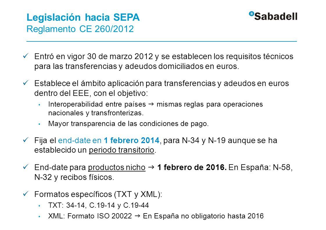 Los usuarios de Norma 34 y Norma 19 deben de sustituir los actuales formatos por los de SEPA desde hoy mismo.