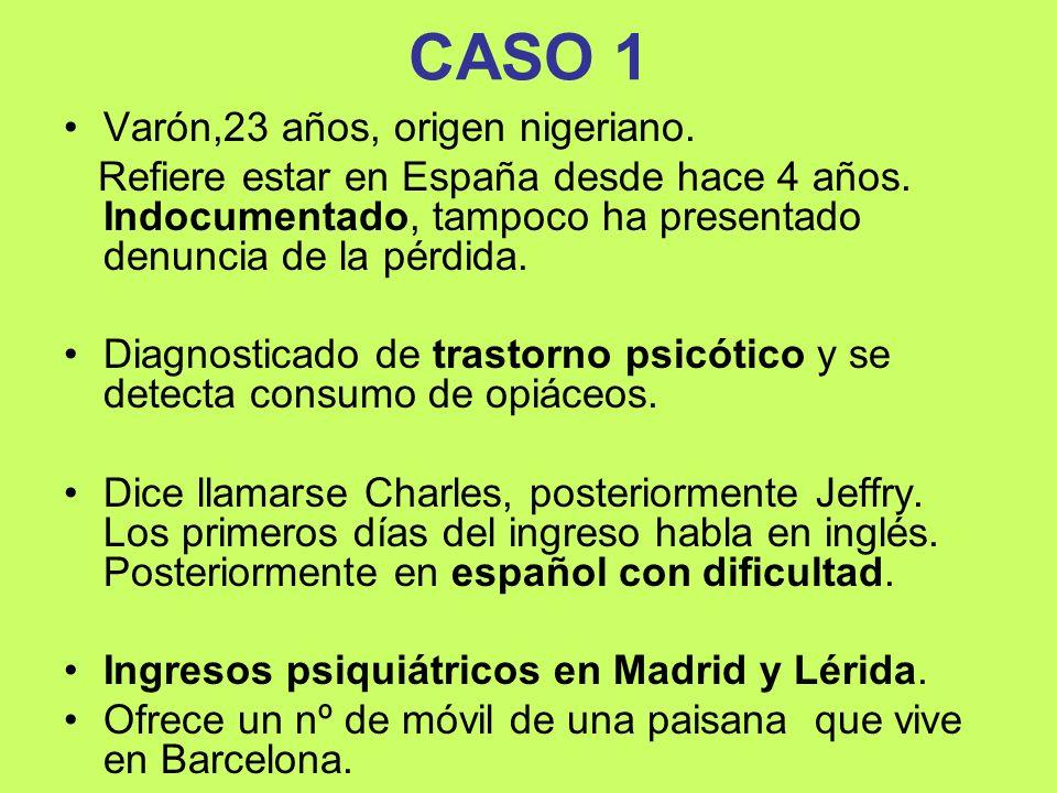 CASO 1 Varón,23 años, origen nigeriano. Refiere estar en España desde hace 4 años. Indocumentado, tampoco ha presentado denuncia de la pérdida. Diagno