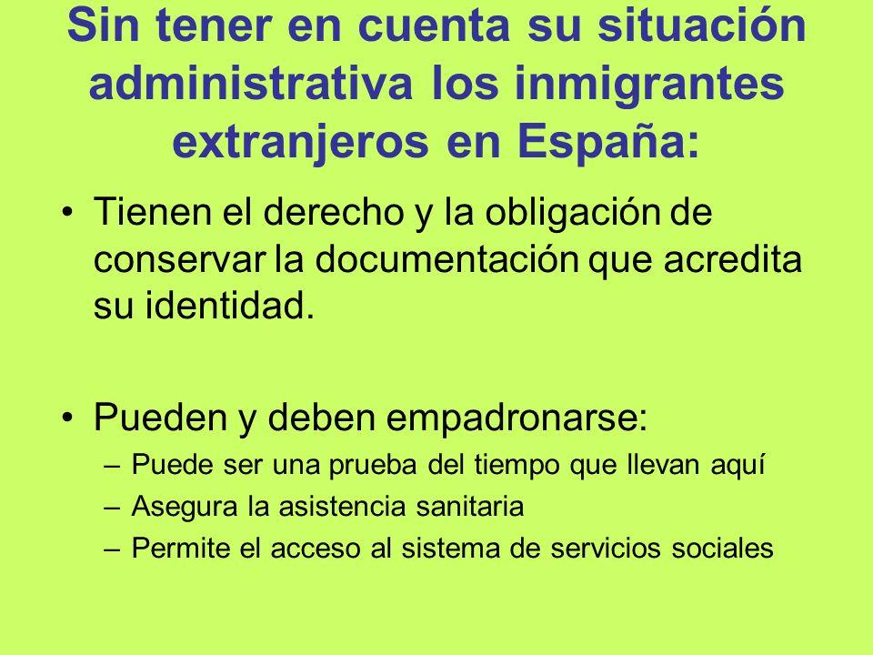 Sin tener en cuenta su situación administrativa los inmigrantes extranjeros en España: Tienen el derecho y la obligación de conservar la documentación