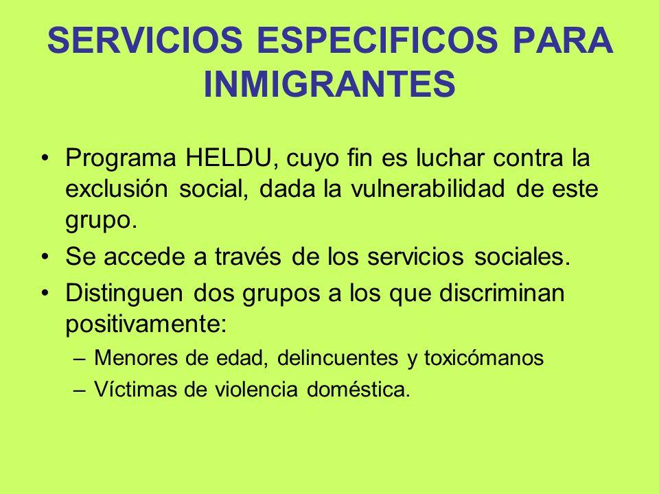 SERVICIOS ESPECIFICOS PARA INMIGRANTES Programa HELDU, cuyo fin es luchar contra la exclusión social, dada la vulnerabilidad de este grupo. Se accede