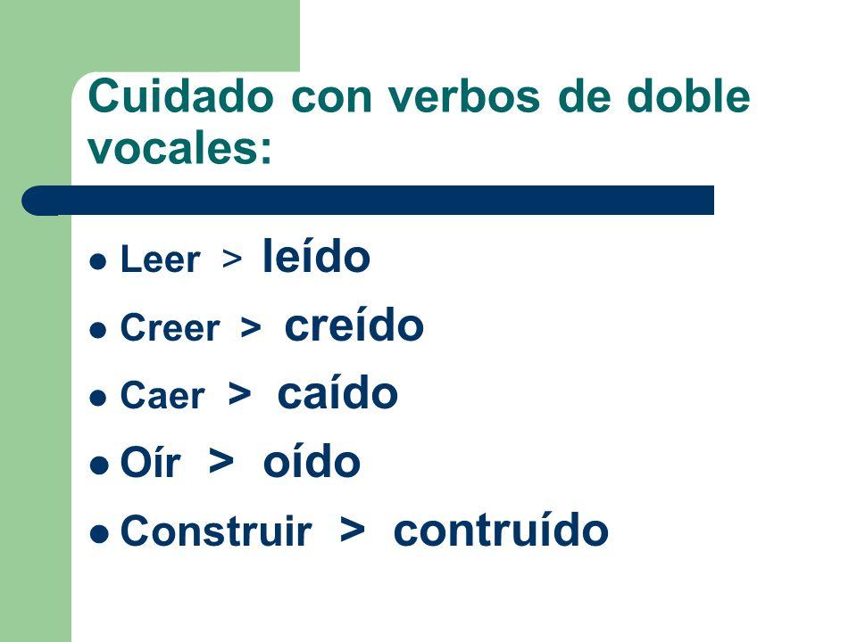 Cuidado con verbos de doble vocales: Leer > leído Creer > creído Caer > caído Oír > oído Construir > contruído