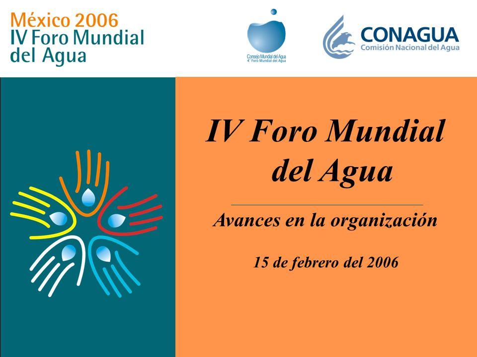 IV Foro Mundial del Agua Avances en la organización 15 de febrero del 2006