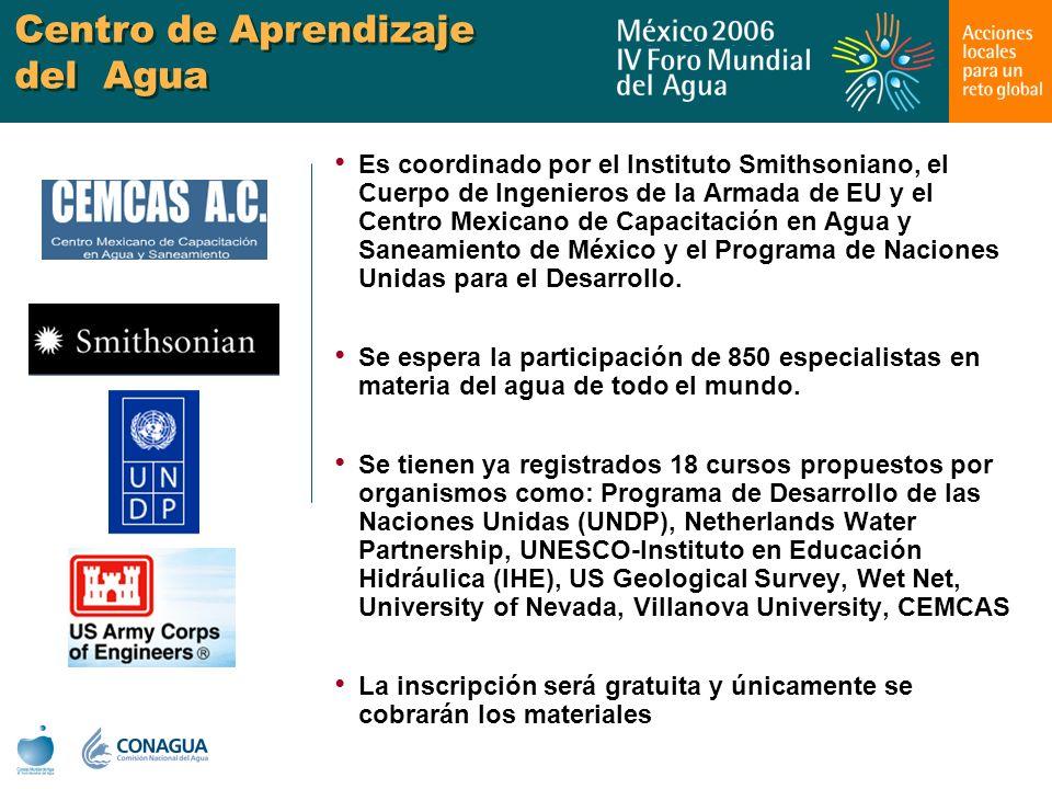 Centro de Aprendizaje del Agua Es coordinado por el Instituto Smithsoniano, el Cuerpo de Ingenieros de la Armada de EU y el Centro Mexicano de Capacit