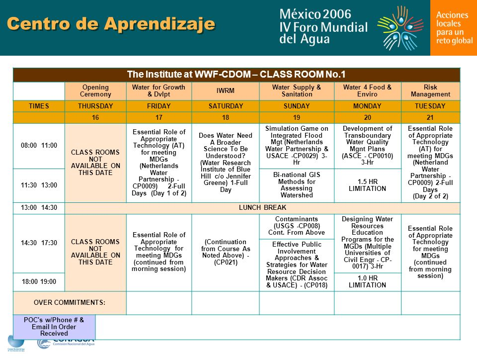 Centro de Aprendizaje The Institute at WWF-CDOM – CLASS ROOM No.1 Opening Ceremony Water for Growth & Dvlpt IWRM Water Supply & Sanitation Water 4 Food & Enviro Risk Management TIMESTHURSDAYFRIDAYSATURDAYSUNDAYMONDAYTUESDAY 161718192021 08:00 11:00 CLASS ROOMS NOT AVAILABLE ON THIS DATE Essential Role of Appropriate Technology (AT) for meeting MDGs (Netherlands Water Partnership - CP0009) 2-Full Days (Day 1 of 2) Does Water Need A Broader Science To Be Understood.