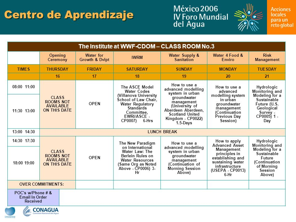 Centro de Aprendizaje The Institute at WWF-CDOM – CLASS ROOM No.3 Opening Ceremony Water for Growth & Dvlpt IWRM Water Supply & Sanitation Water 4 Food & Enviro Risk Management TIMESTHURSDAYFRIDAYSATURDAYSUNDAYMONDAYTUESDAY 161718192021 08:00 11:00 CLASS ROOMS NOT AVAILABLE ON THIS DATE OPEN The ASCE Model Water Codes (Villanova University School of Law Chair, Water Regulatory Standards Committee, EWRI/ASCE - CP0007) 6-Hrs How to use a advanced modelling system in urban groundwater management (University of Aberdeen Aberdeen, Scotland United Kingdom - CP0022) 1.5-Days How to use a advanced modelling system in urban groundwater management (Continuation Previous Day Session) Hydrologic Monitoring and Modeling for a Sustainable Future (U.S.