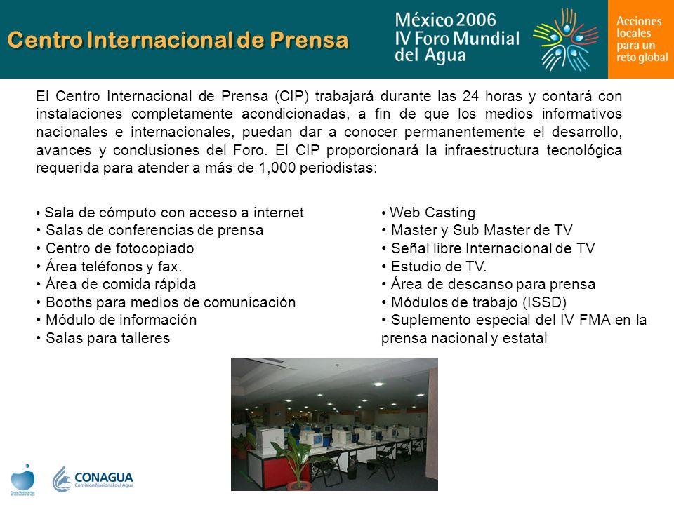 Centro Internacional de Prensa Web Casting Master y Sub Master de TV Señal libre Internacional de TV Estudio de TV. Área de descanso para prensa Módul
