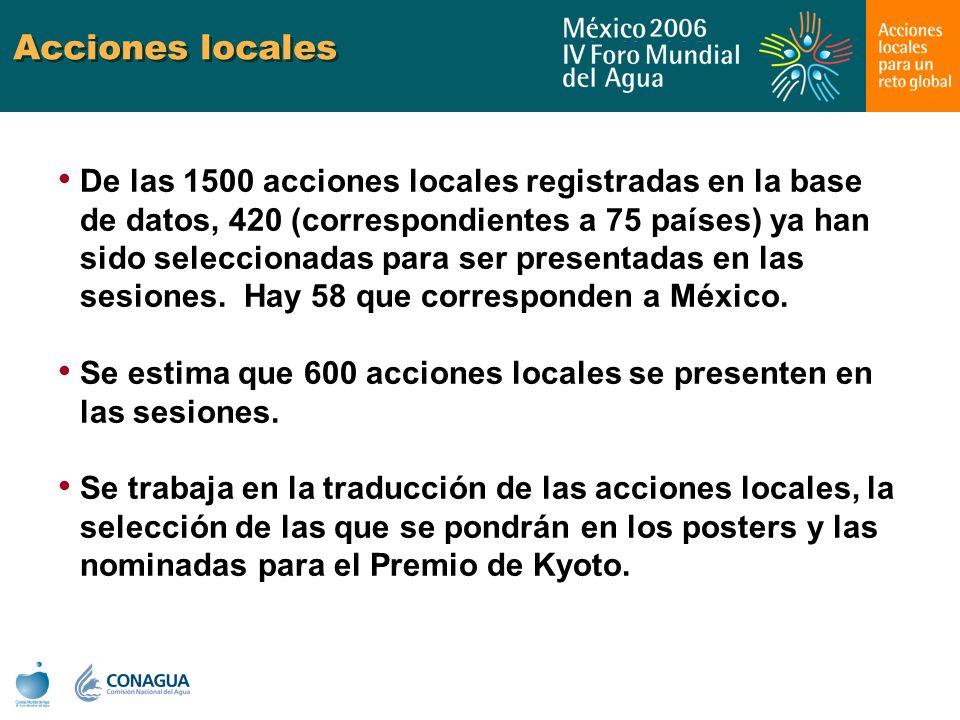 Acciones locales De las 1500 acciones locales registradas en la base de datos, 420 (correspondientes a 75 países) ya han sido seleccionadas para ser p