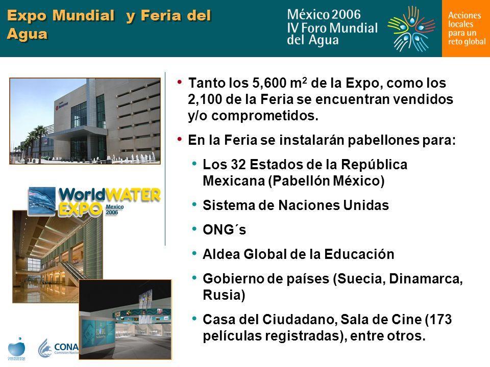 Expo Mundial y Feria del Agua Tanto los 5,600 m 2 de la Expo, como los 2,100 de la Feria se encuentran vendidos y/o comprometidos. En la Feria se inst