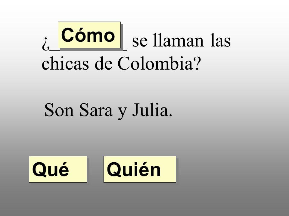 ¿________ se llaman las chicas de Colombia Son Sara y Julia. Quién Qué Cómo