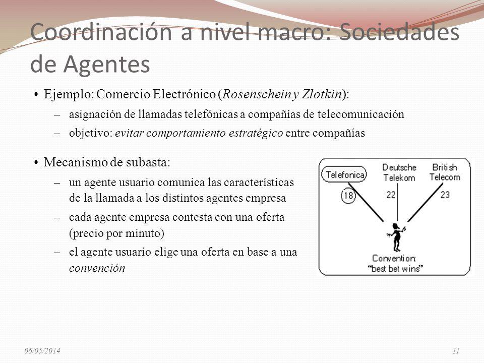 Coordinación a nivel macro: Sociedades de Agentes Mecanismo de subasta: –un agente usuario comunica las características de la llamada a los distintos