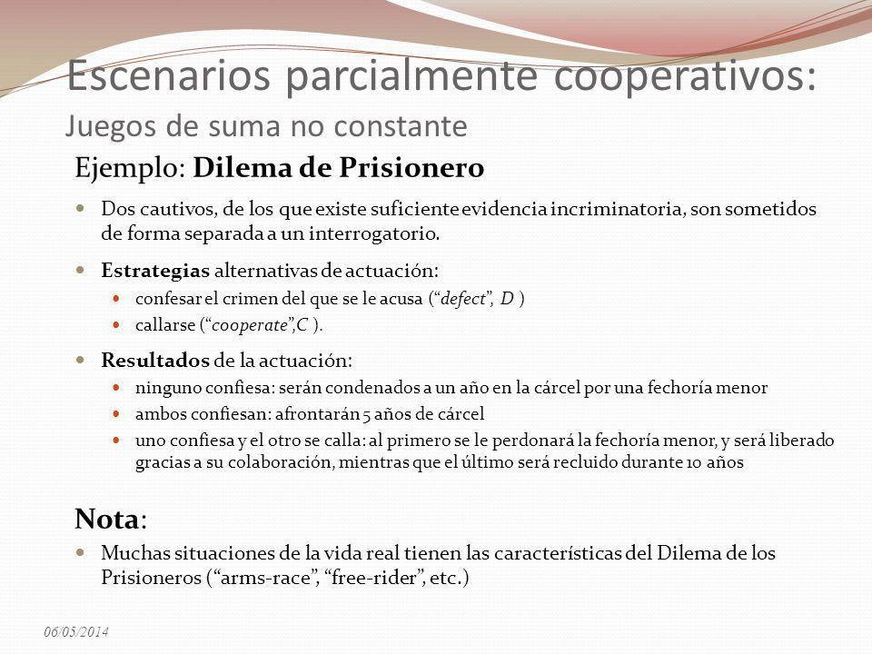 Ejemplo: Dilema de Prisionero Dos cautivos, de los que existe suficiente evidencia incriminatoria, son sometidos de forma separada a un interrogatorio