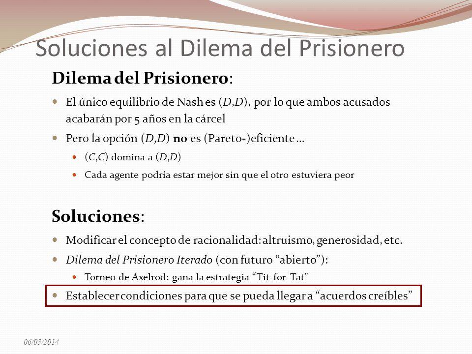 Soluciones al Dilema del Prisionero Dilema del Prisionero: El único equilibrio de Nash es (D,D), por lo que ambos acusados acabarán por 5 años en la c