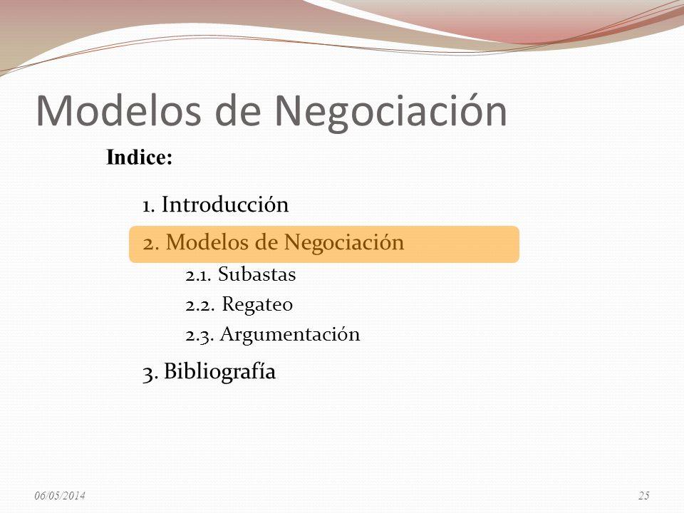 Modelos de Negociación 1. Introducción 2. Modelos de Negociación 2.1. Subastas 2.2. Regateo 2.3. Argumentación 3.Bibliografía Indice: 06/05/201425