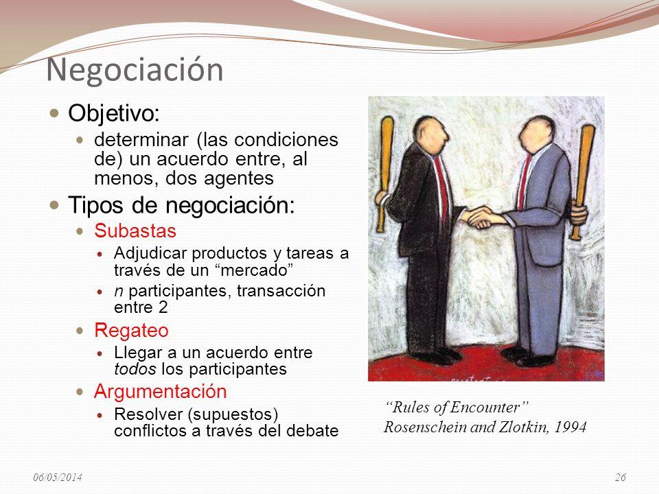 Negociación Objetivo: determinar (las condiciones de) un acuerdo entre, al menos, dos agentes Tipos de negociación: Subastas Adjudicar productos y tar