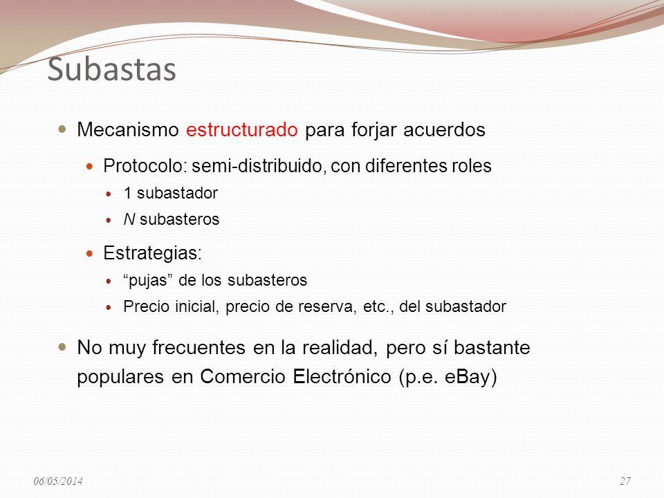 Subastas Mecanismo estructurado para forjar acuerdos Protocolo: semi-distribuido, con diferentes roles 1 subastador N subasteros Estrategias: pujas de