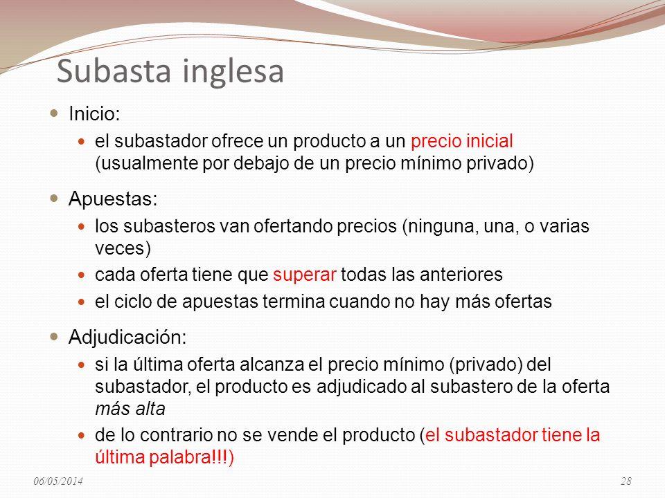 Subasta inglesa Inicio: el subastador ofrece un producto a un precio inicial (usualmente por debajo de un precio mínimo privado) Apuestas: los subaste