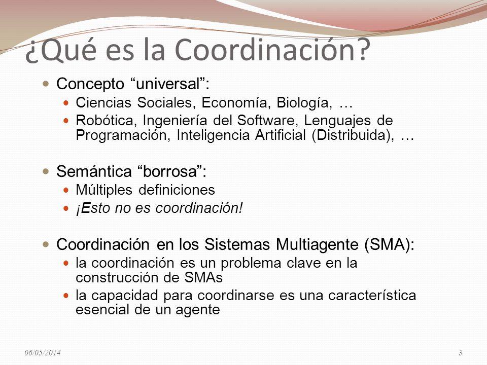 ¿Qué es la Coordinación? Concepto universal: Ciencias Sociales, Economía, Biología, … Robótica, Ingeniería del Software, Lenguajes de Programación, In