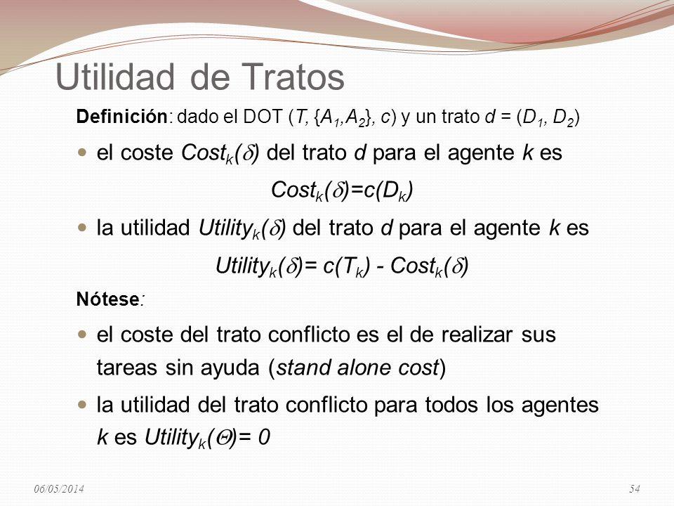 Utilidad de Tratos Definición: dado el DOT (T, {A 1,A 2 }, c) y un trato d = (D 1, D 2 ) el coste Cost k ( ) del trato d para el agente k es Cost k (