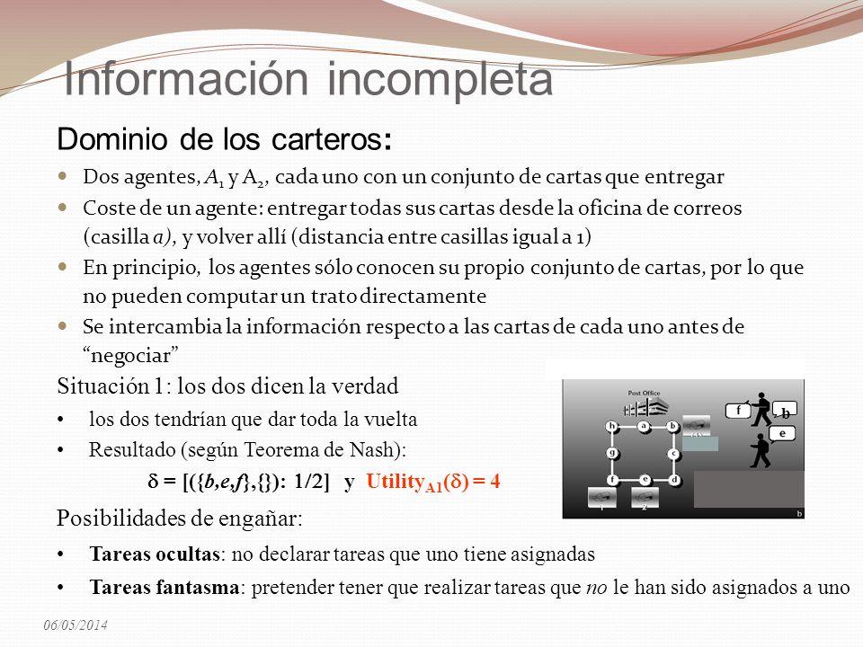 Información incompleta Dominio de los carteros: Dos agentes, A 1 y A 2, cada uno con un conjunto de cartas que entregar Coste de un agente: entregar t