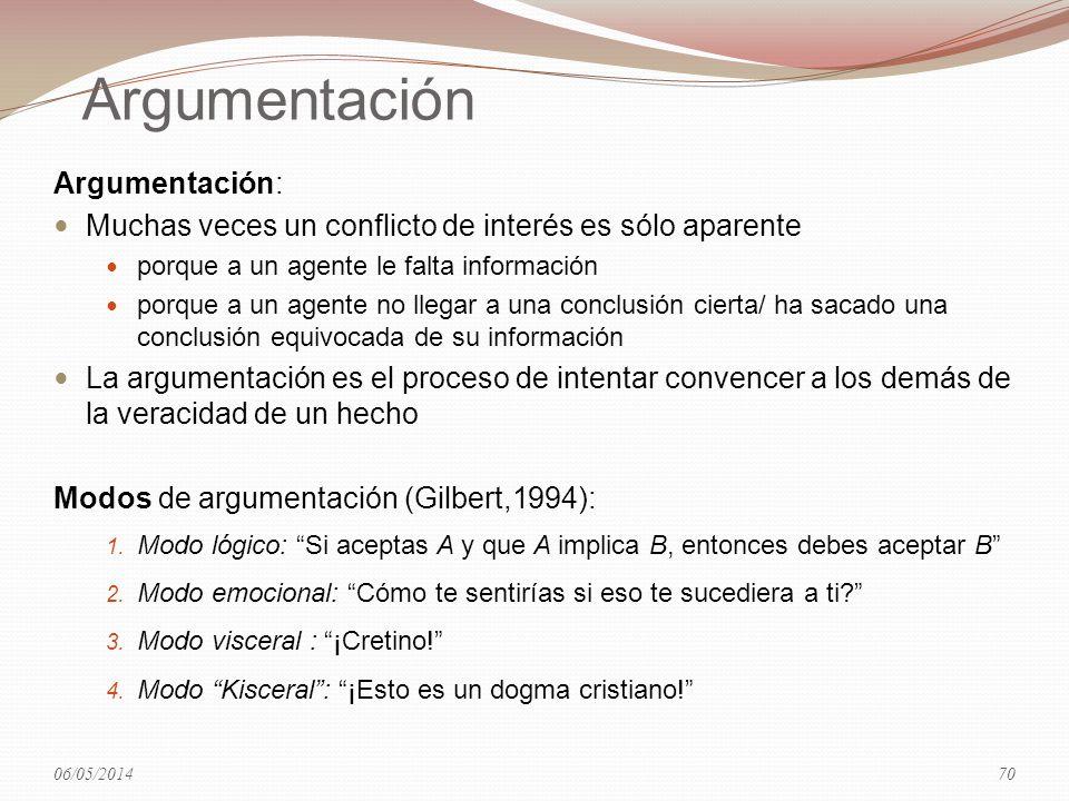 Argumentación Argumentación: Muchas veces un conflicto de interés es sólo aparente porque a un agente le falta información porque a un agente no llega
