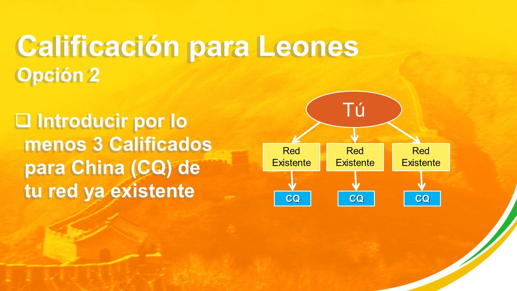 Calificación para Leones Opción 2 Introducir por lo menos 3 Calificados para China (CQ) de tu red ya existente Tú Red Existente CQ CQ CQ