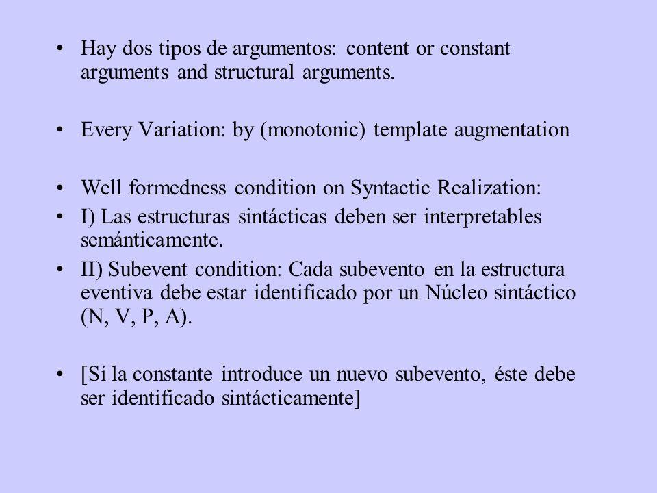 Hay dos tipos de argumentos: content or constant arguments and structural arguments.