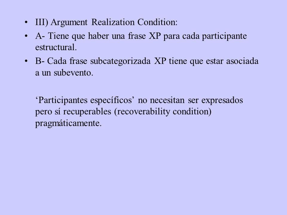 III) Argument Realization Condition: A- Tiene que haber una frase XP para cada participante estructural. B- Cada frase subcategorizada XP tiene que es