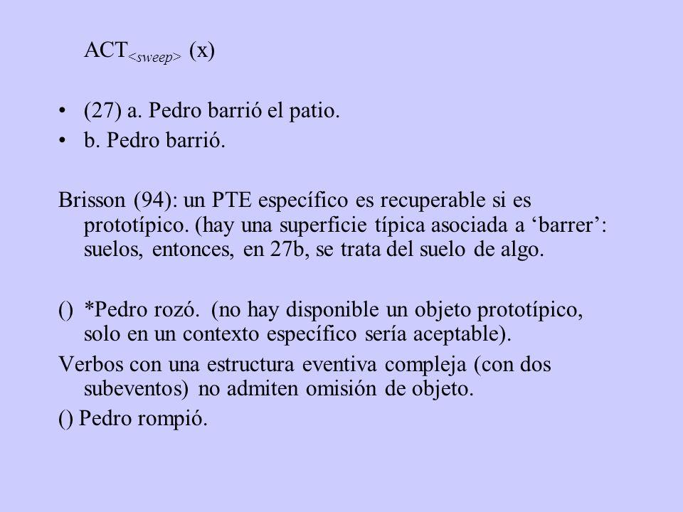 ACT (x) (27) a. Pedro barrió el patio. b. Pedro barrió. Brisson (94): un PTE específico es recuperable si es prototípico. (hay una superficie típica a