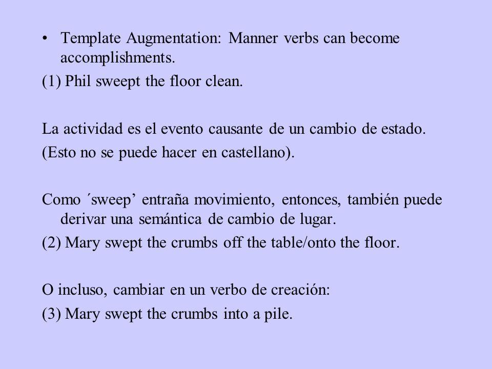 Template Augmentation: Manner verbs can become accomplishments. (1) Phil sweept the floor clean. La actividad es el evento causante de un cambio de es