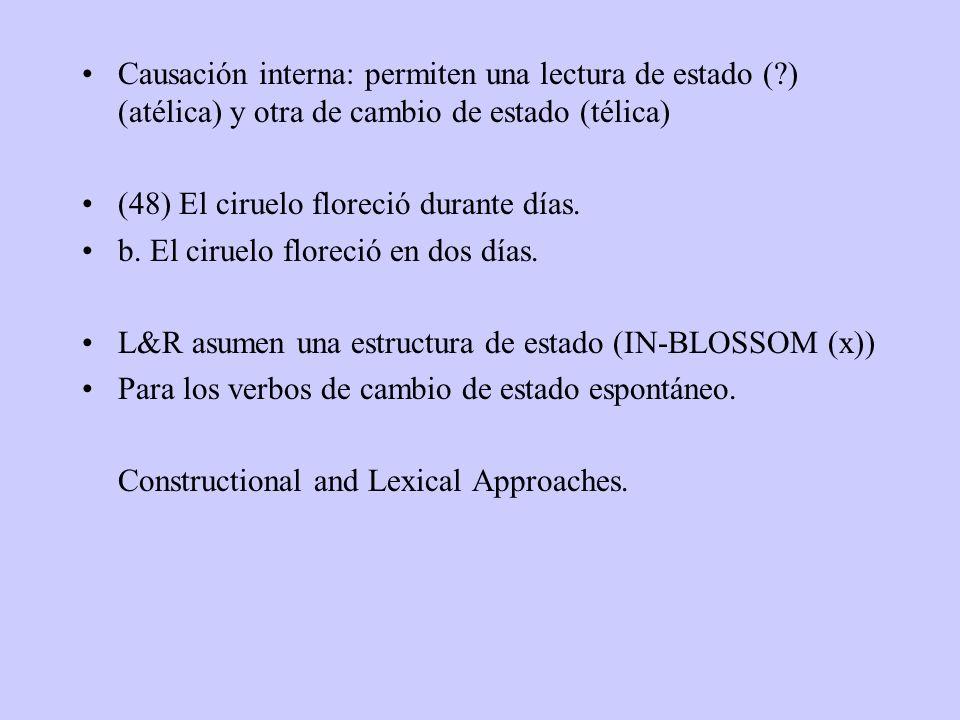 Causación interna: permiten una lectura de estado (?) (atélica) y otra de cambio de estado (télica) (48) El ciruelo floreció durante días.