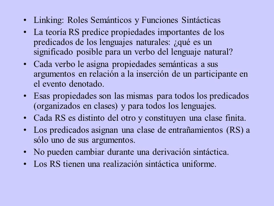 Linking: Roles Semánticos y Funciones Sintácticas La teoría RS predice propiedades importantes de los predicados de los lenguajes naturales: ¿qué es un significado posible para un verbo del lenguaje natural.