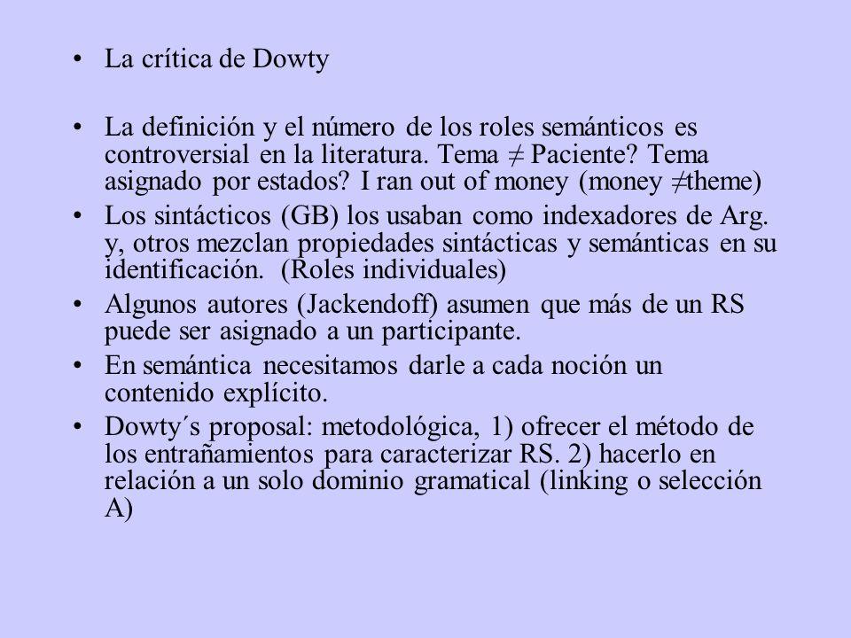 La crítica de Dowty La definición y el número de los roles semánticos es controversial en la literatura. Tema Paciente? Tema asignado por estados? I r