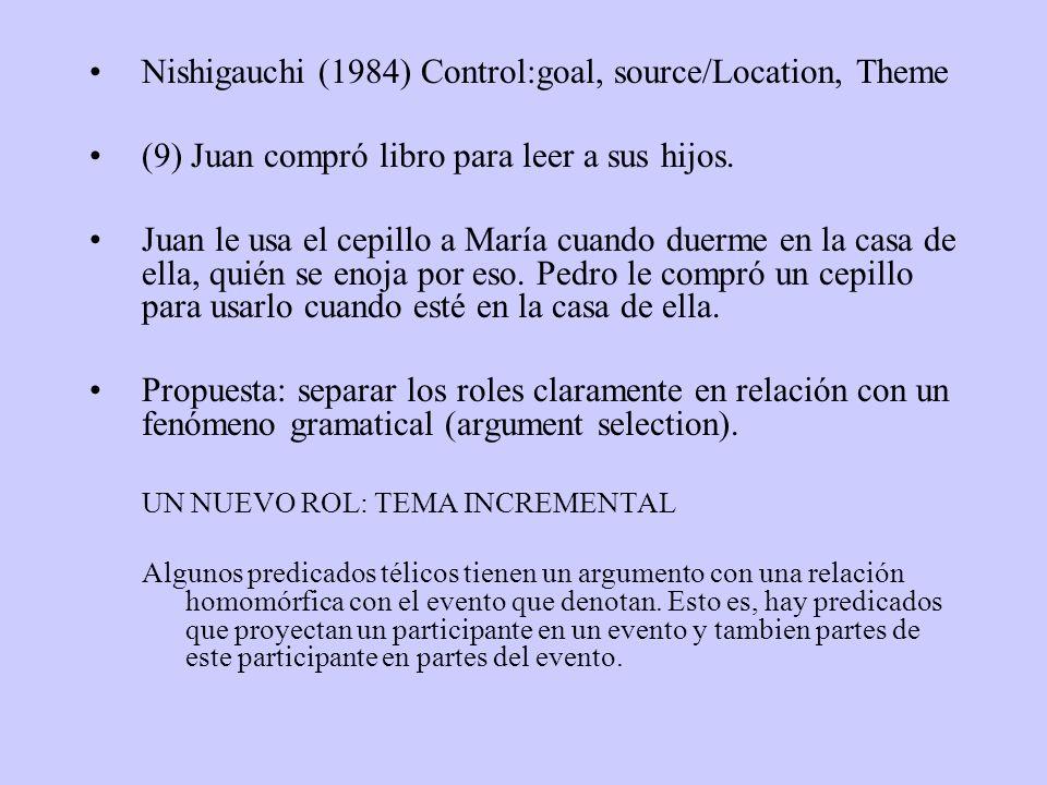 Nishigauchi (1984) Control:goal, source/Location, Theme (9) Juan compró libro para leer a sus hijos. Juan le usa el cepillo a María cuando duerme en l