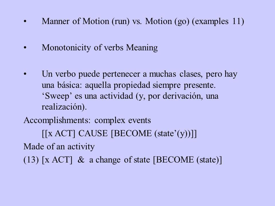 Manner of Motion (run) vs. Motion (go) (examples 11) Monotonicity of verbs Meaning Un verbo puede pertenecer a muchas clases, pero hay una básica: aqu