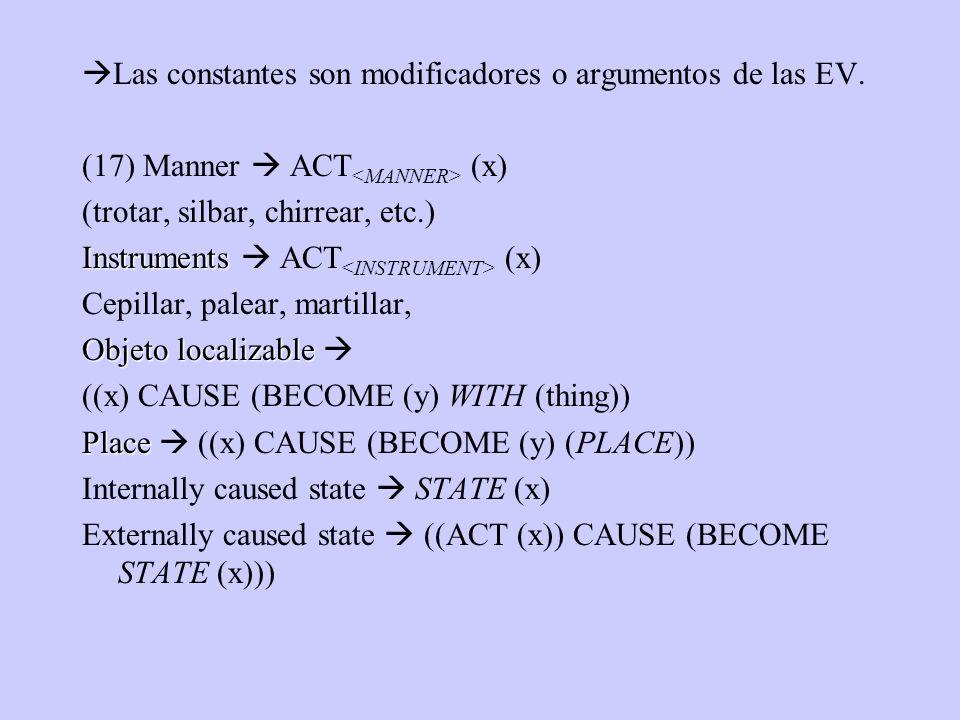 Las constantes son modificadores o argumentos de las EV. (17) Manner ACT (x) (trotar, silbar, chirrear, etc.) Instruments Instruments ACT (x) Cepillar