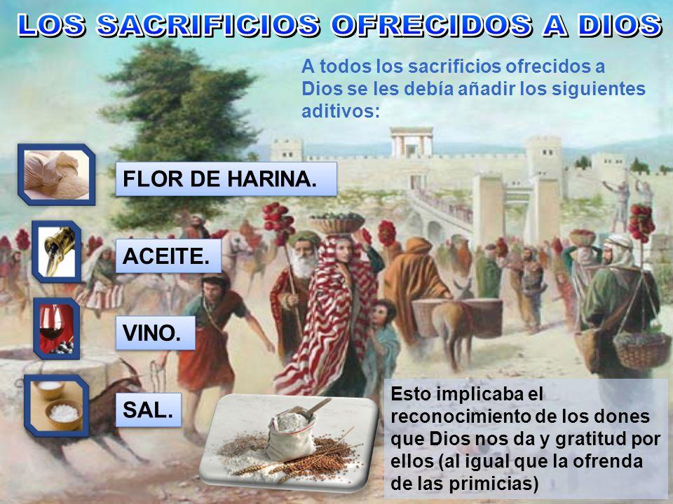 A todos los sacrificios ofrecidos a Dios se les debía añadir los siguientes aditivos: FLOR DE HARINA. Esto implicaba el reconocimiento de los dones qu