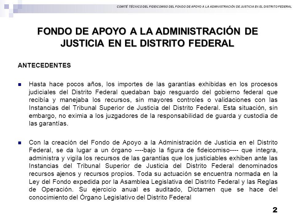 COMITÉ TÉCNICO DEL FIDEICOMISO DEL FONDO DE APOYO A LA ADMINISTRACIÓN DE JUSTICIA EN EL DISTRITO FEDERAL FONDO DE APOYO A LA ADMINISTRACIÓN DE JUSTICIA EN EL DISTRITO FEDERAL ANTECEDENTES Hasta hace pocos años, los importes de las garantías exhibidas en los procesos judiciales del Distrito Federal quedaban bajo resguardo del gobierno federal que recibía y manejaba los recursos, sin mayores controles o validaciones con las Instancias del Tribunal Superior de Justicia del Distrito Federal.