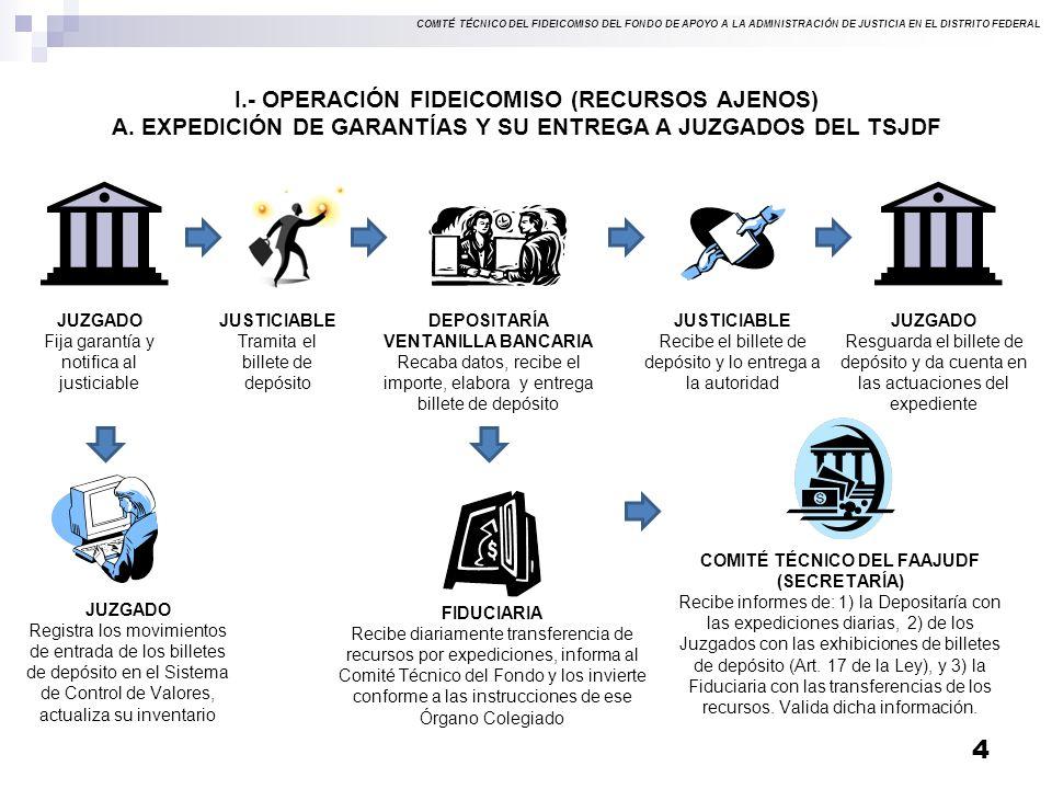 COMITÉ TÉCNICO DEL FIDEICOMISO DEL FONDO DE APOYO A LA ADMINISTRACIÓN DE JUSTICIA EN EL DISTRITO FEDERAL I.- OPERACIÓN FIDEICOMISO (RECURSOS AJENOS) A.